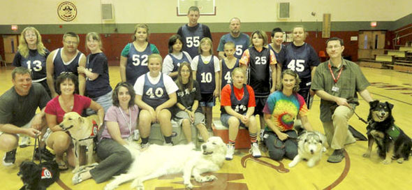 Delta Pet Partner Therapy Dogs with Special Olympics Basketball Team